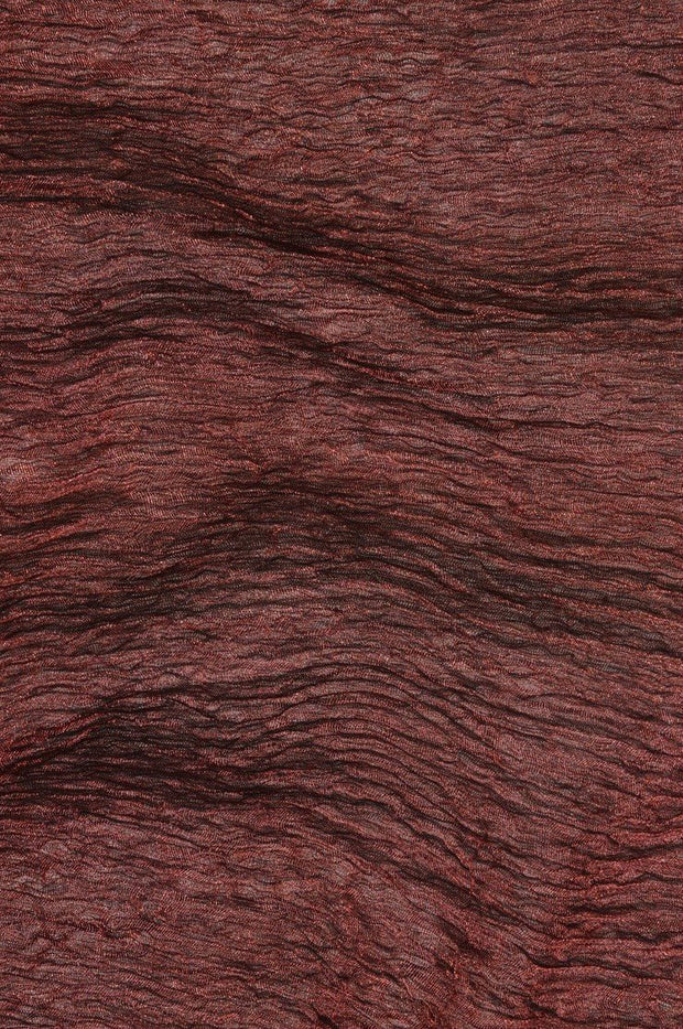 Dark Rose Metallic Crushed Organza Fabric