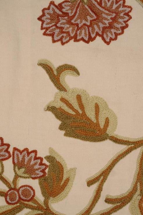 Carnation on Desert Sand Crewel Fabric
