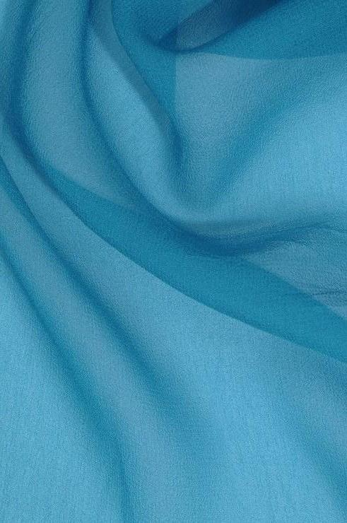 Enamel Blue Silk Georgette Fabric