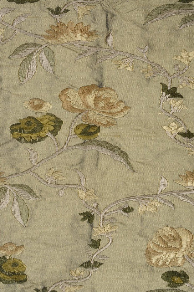 Golden Green Embroidered Dupioni Silk 215 Fabric