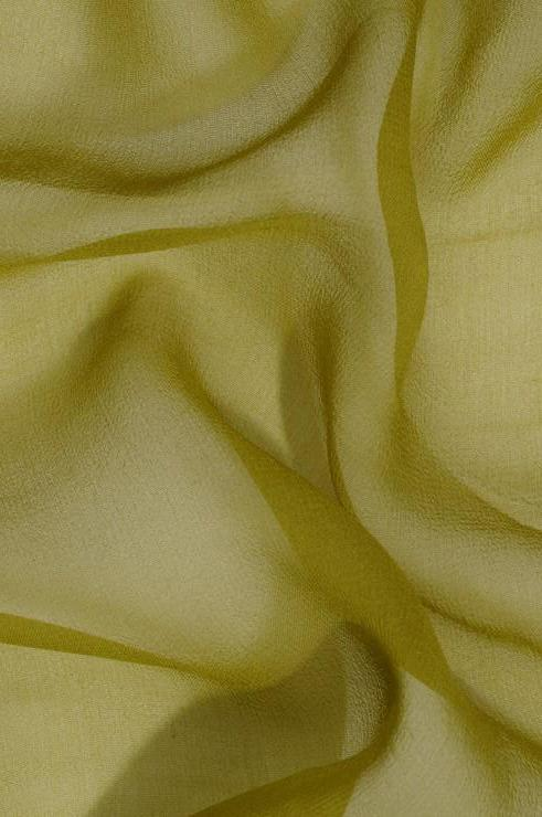 Golden Green Silk Georgette Fabric