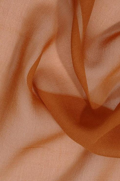 Golden Rust Brown Silk Georgette Fabric