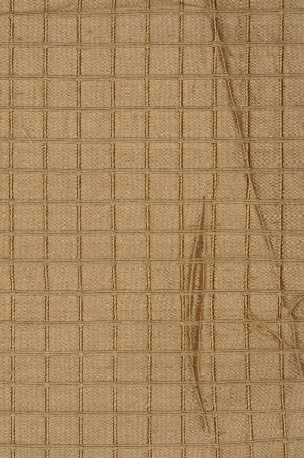 "Golden Sand Silk Shantung Windowpane 54"" Fabric"