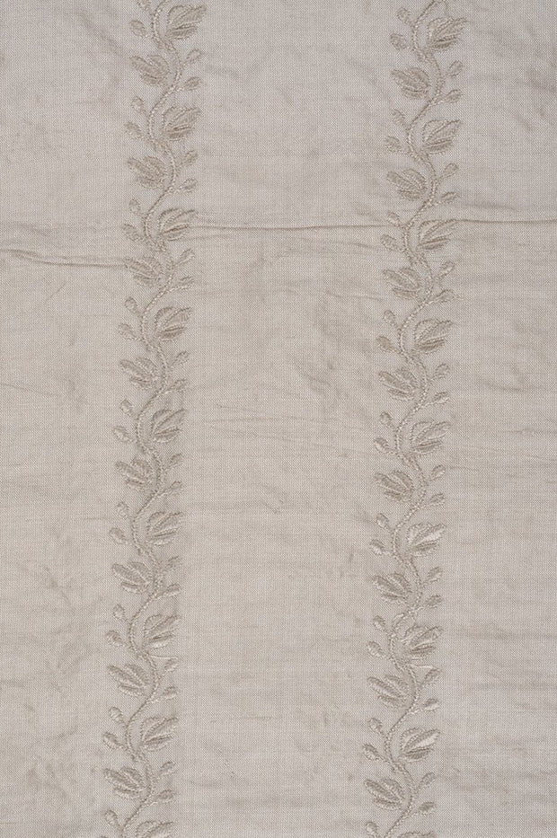 Gray White Sand Embroidered Dupioni Silk 210 Fabric