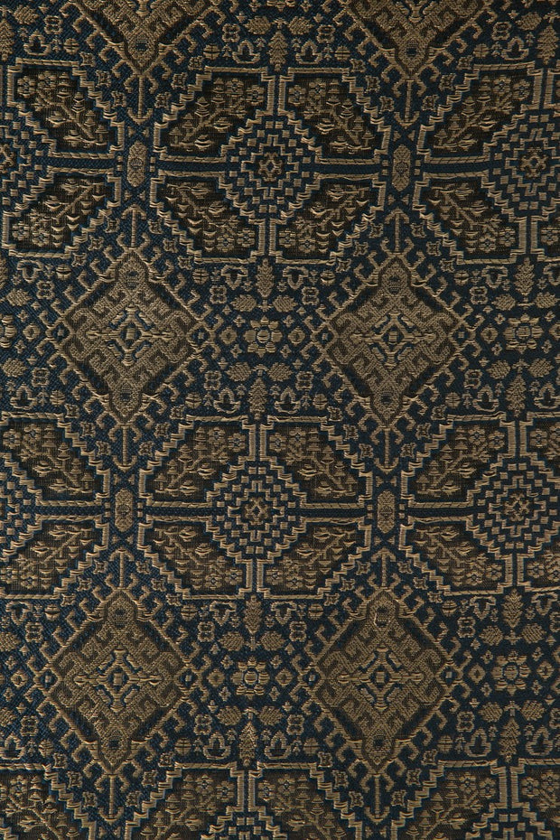 Turquoise Black Silk Brocade 516 Fabric