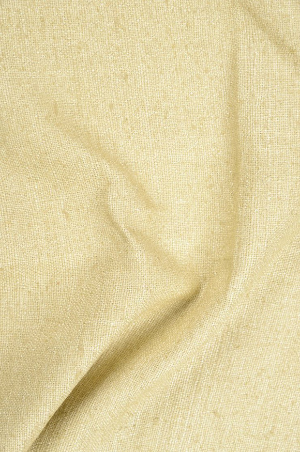 Lemon Curry Silk Linen (Matka) Fabric