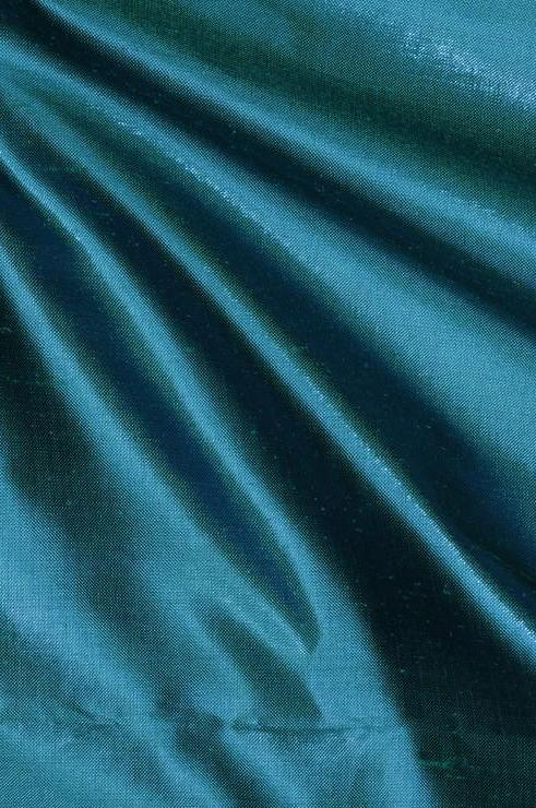 Deep Scuba Blue Metallic Shantung Silk Fabric
