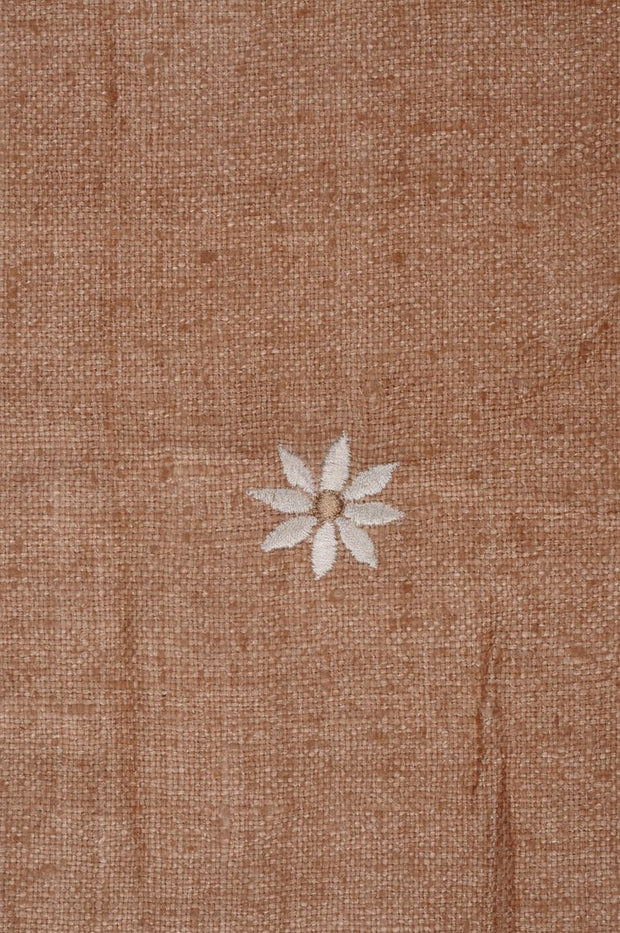 Natural Embroidered Raw Silk 302 Fabric