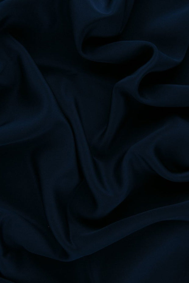 Navy Silk Crepe de Chine Fabric