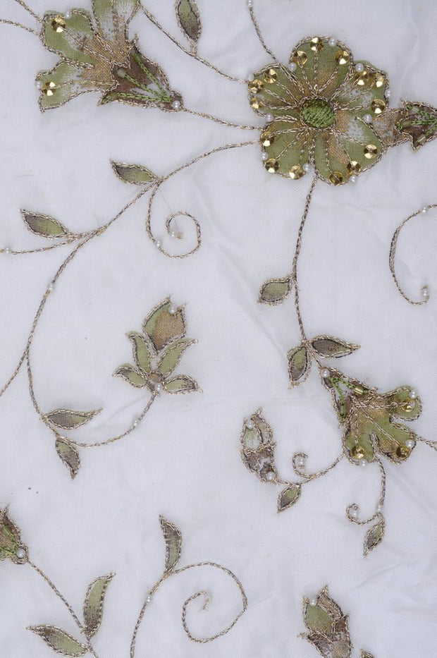 Green Embroidered Organza Silk 104 Fabric