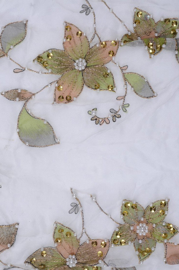Pastel Green Embroidered Organza Silk 74 Fabric