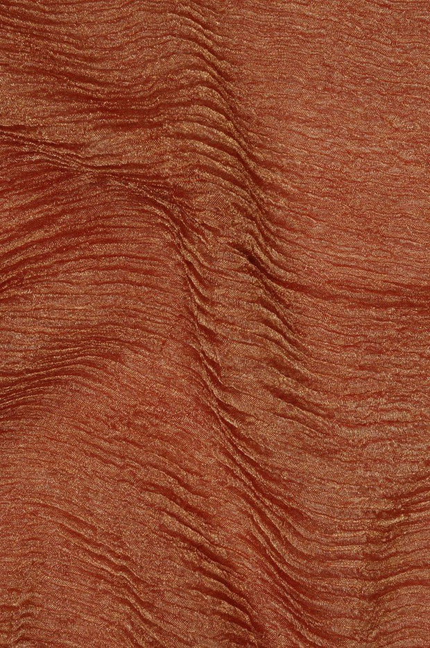 Orange Gold Metallic Crushed Organza Fabric