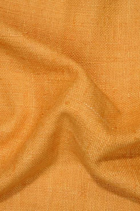 Orange Gold Silk Linen (Matka) Fabric