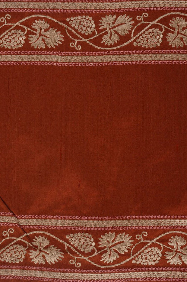 Orange Rust Embroidered Dupioni Silk 213 Fabric