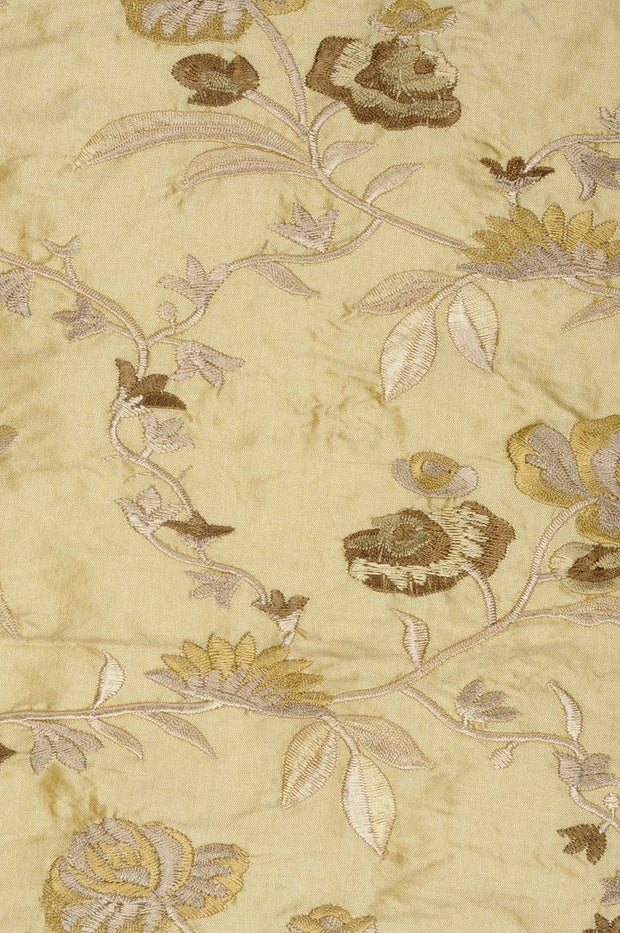 Pale Gold Embroidered Dupioni Silk 215 Fabric