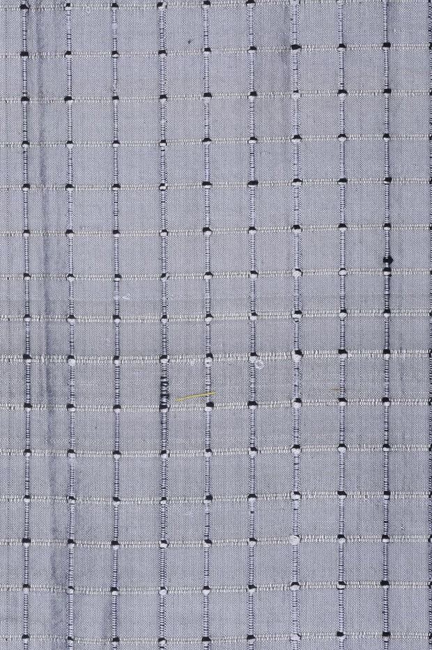 "Pewter Gray Silk Shantung Windowpane 44"" Fabric"