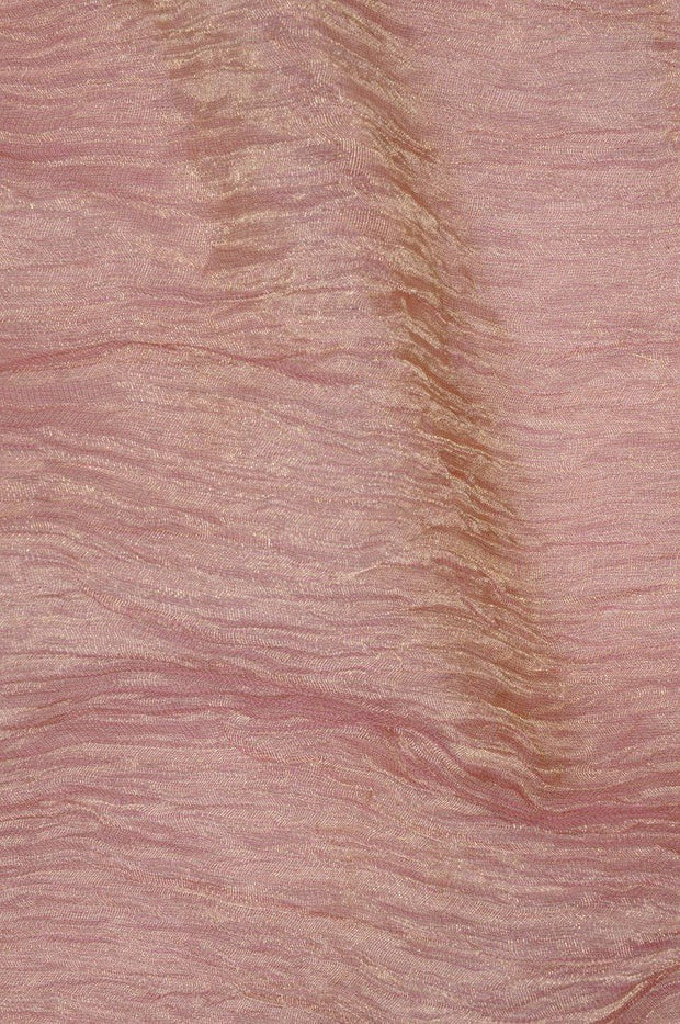 Pink Gold Metallic Crushed Organza Fabric