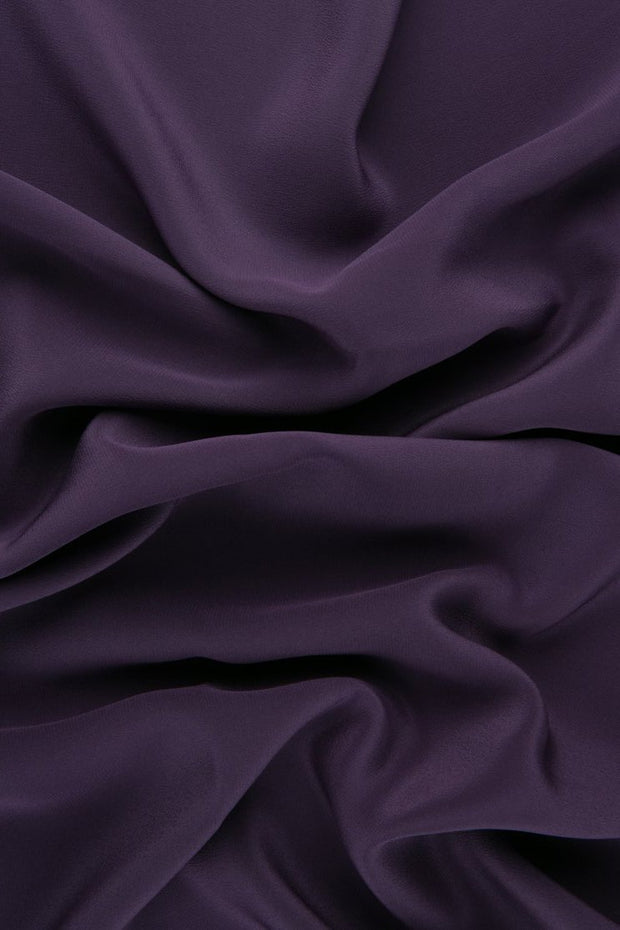 Plum Silk Crepe de Chine Fabric