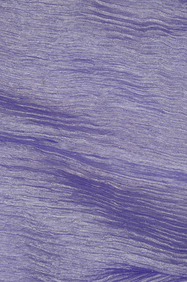 Purple Silver Metallic Crushed Organza Fabric
