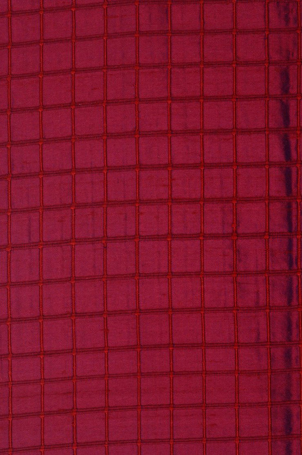 "Red Bud Silk Shantung Windowpane 44"" Fabric"