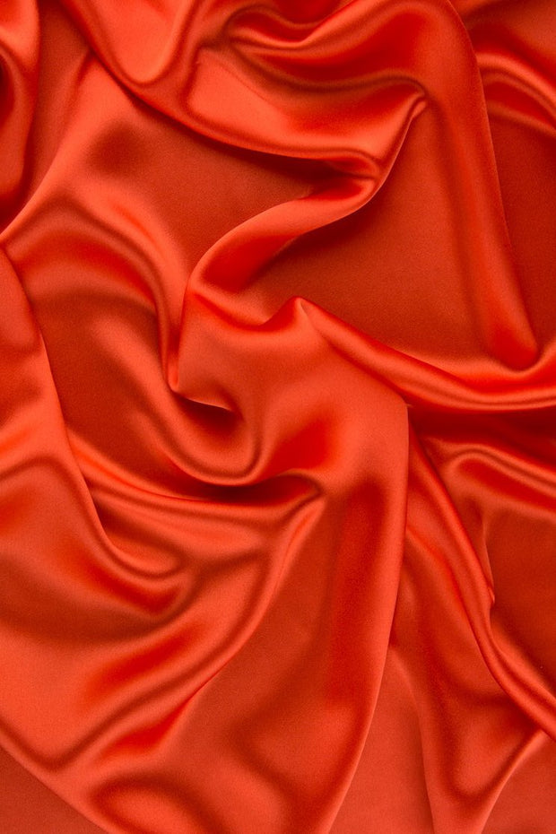 Red Orange Charmeuse Silk Fabric