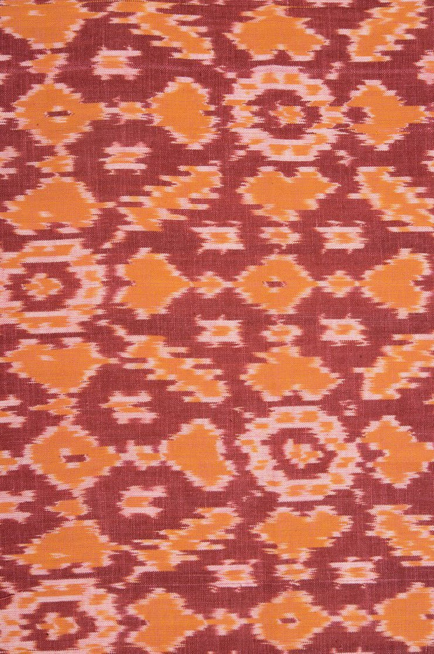 Red Orange Cotton Ikat 73 Fabric