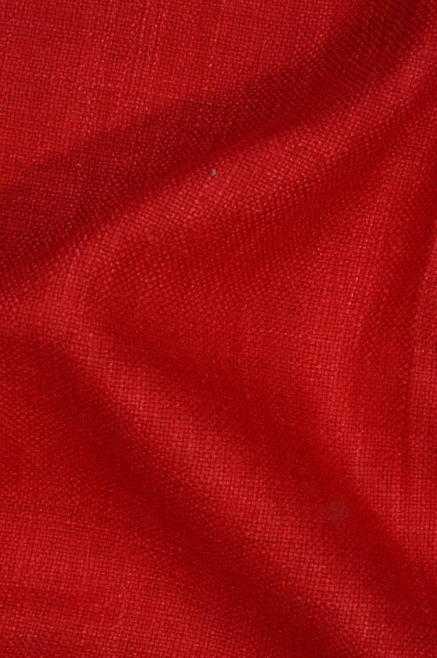 Ribbon Red Silk Linen (Matka) Fabric