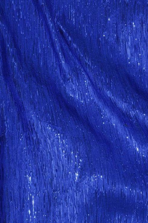 Royal Victorian Blue Metallic Shantung Silk Fabric