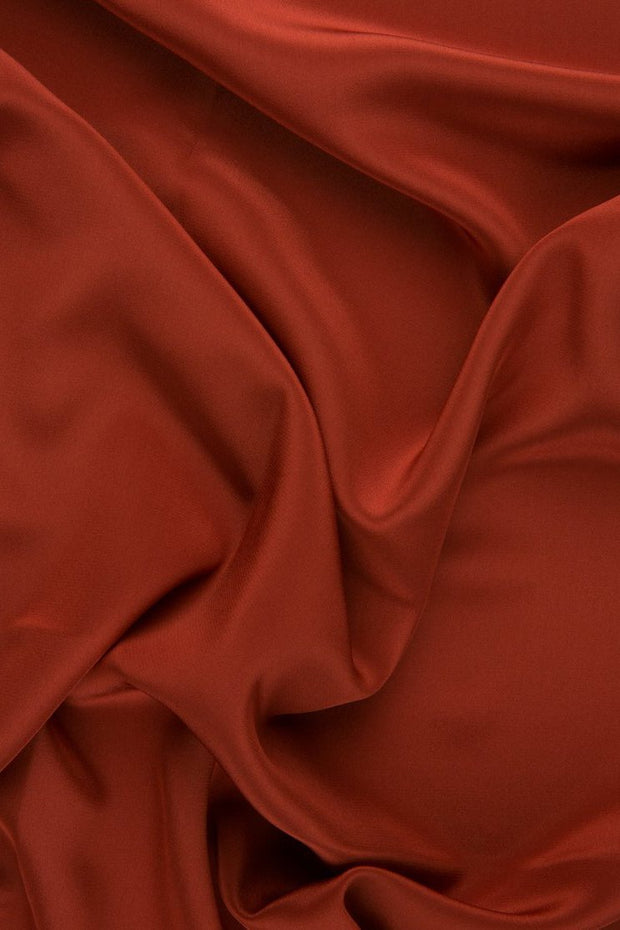 Rust Silk Crepe de Chine Fabric