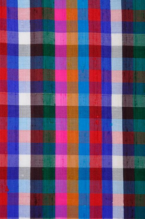 Multi-Color Check Plaid Silk Shantung 79 Fabric