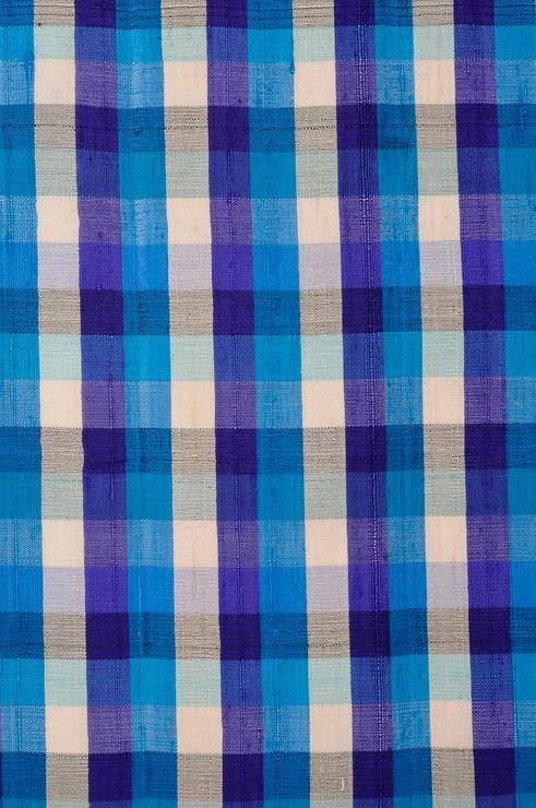 Blue Check Plaid Silk Shantung 84 Fabric