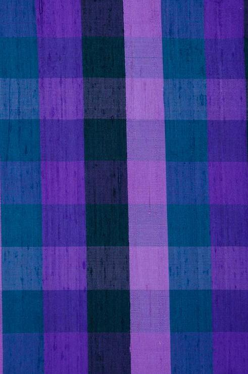Blue Check Plaid Silk Shantung 99 Fabric