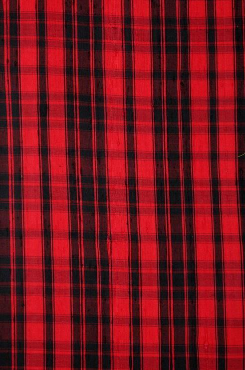 Red/Black Madras Plaid Silk Shantung 102 Fabric