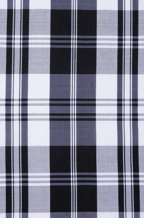 Black White Tartan Plaid Silk Shantung 155 Fabric