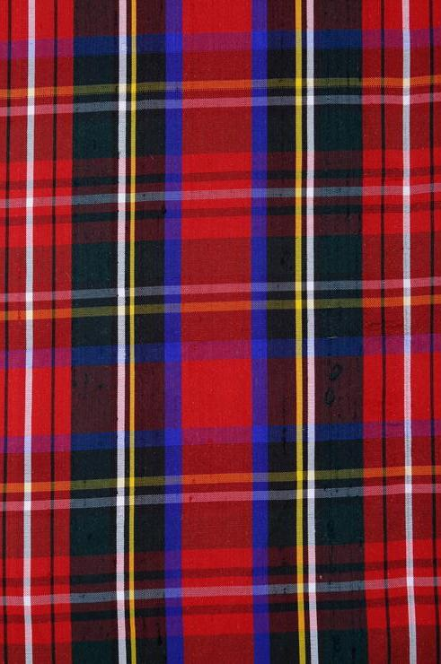 Multi-Color Tartan Plaid Silk Shantung 161 Fabric