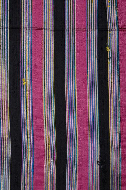 Mauve Black Striped Silk Shantung 142 Fabric