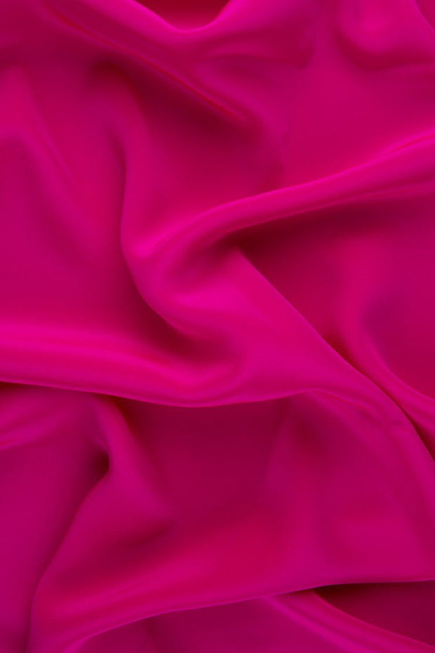 Shocking Pink Silk Crepe de Chine Fabric
