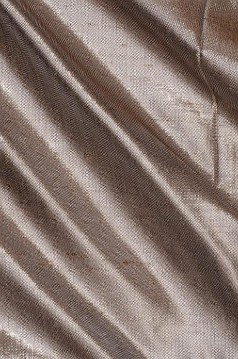 Silver Grey Metallic Shantung Silk Fabric