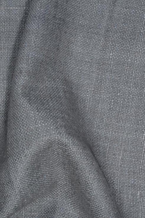 Slate Gray Silk Linen (Matka) Fabric
