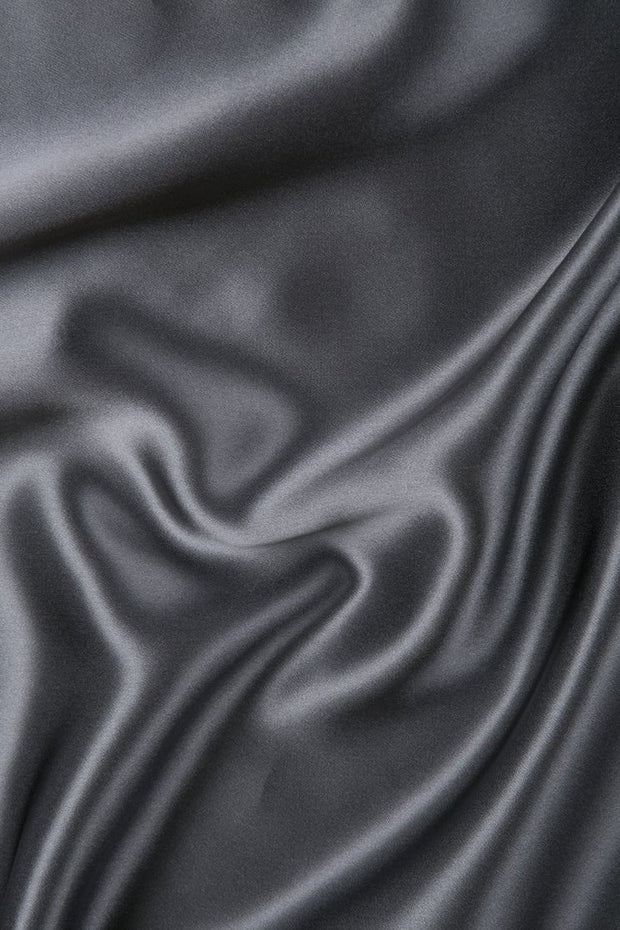 Steel Gray Charmeuse Silk Fabric