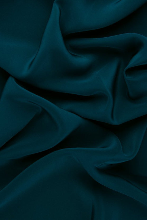 Teal Silk Crepe de Chine Fabric