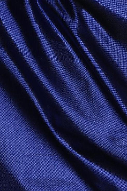 True Deep Blue Metallic Shantung Silk Fabric