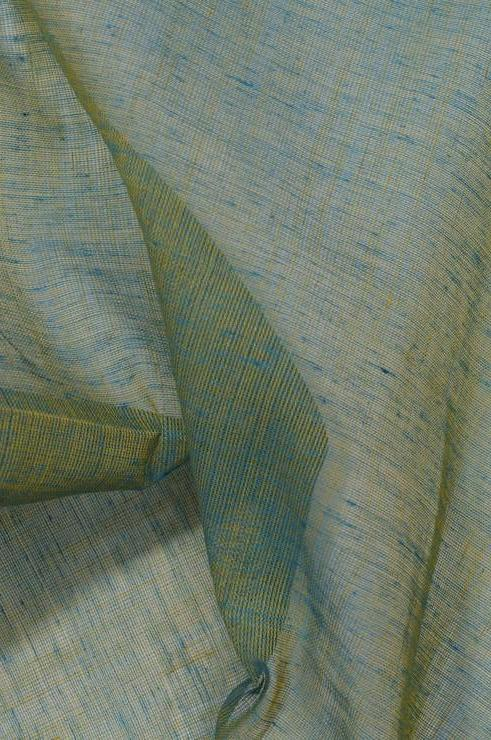 Turquoise Gold Cotton Voile Fabric