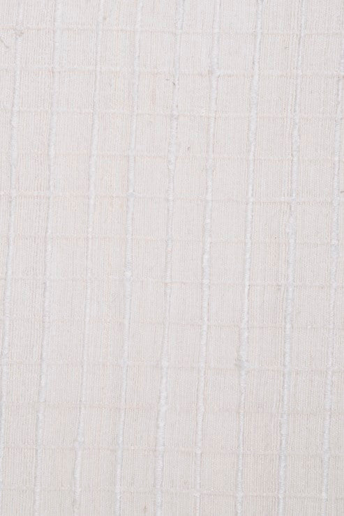 Ivory Tussah Noil Raw Silk Tweed Fabric