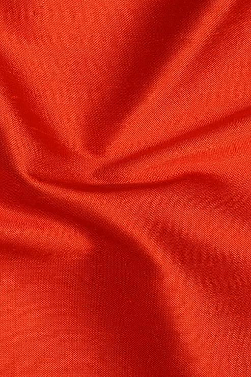 "Vermillion Red Silk Shantung 54"" Fabric"