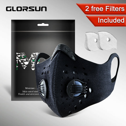 GLORSUN pollution mask custom neoprene  anti odor smog pm2.5 motorcycle bike cycling маска  air filter winter pollen mask