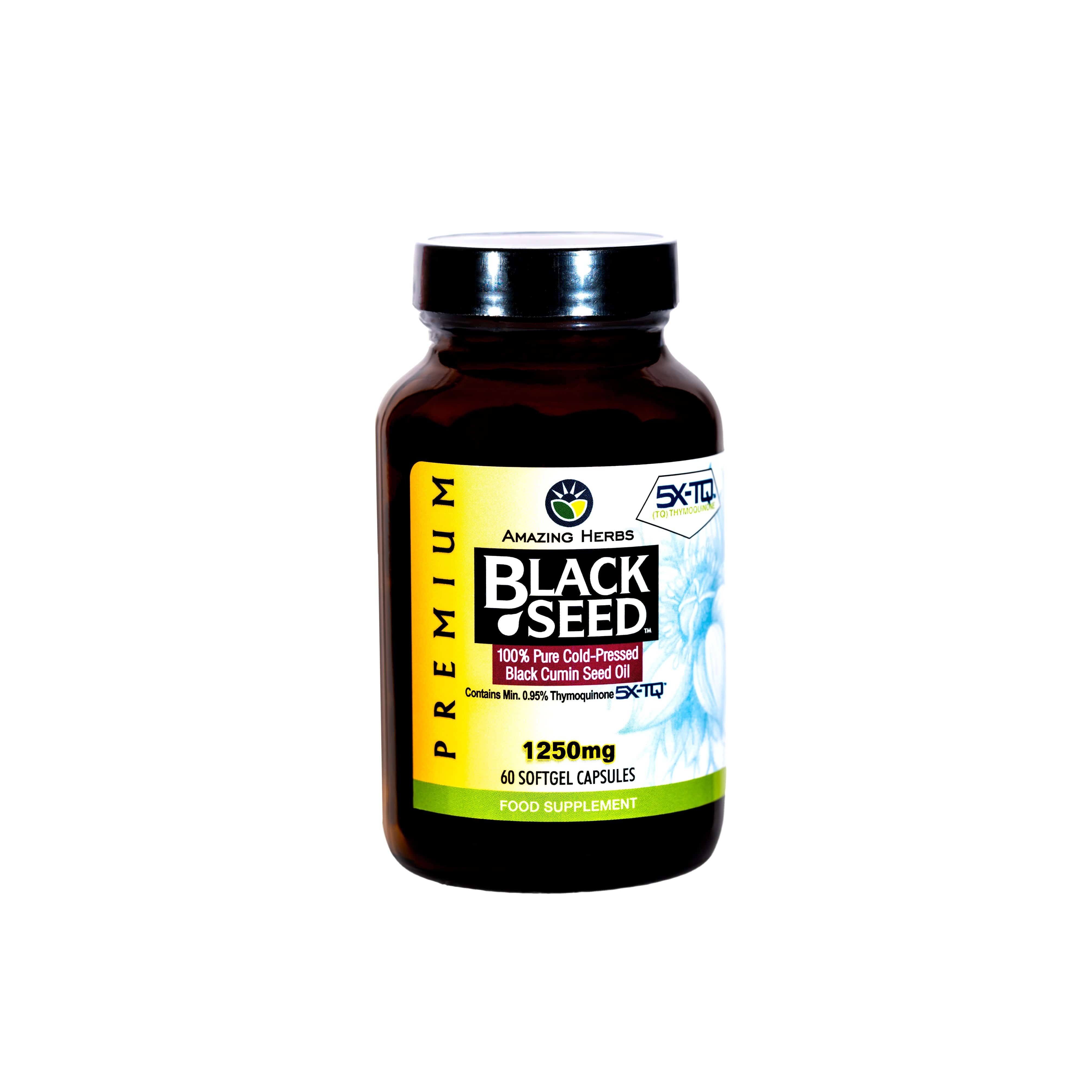 Amazing Herbs UK New Product - Amazing Herbs Premium Black Seed Oil Softgels 1250mg, 60 count