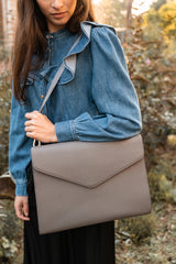 Vegan laptop bag - vegan bag grey