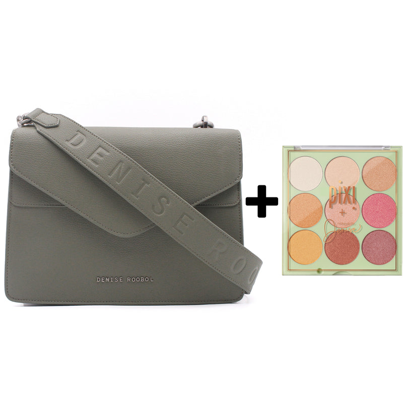 Charlie Bag Green Mud + Pixi Eyeshadow Palette