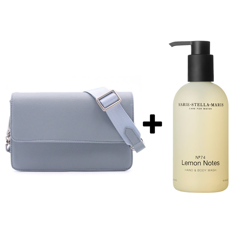 Clutch Bag Milky Blue + Marie Stella Maris Hand & Body Wash